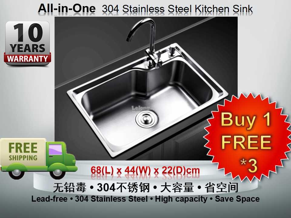 [DEFECT]6844D 304 Stainless Steel Kitchen Sink *FREE FAUCET COST RM200. U2039 U203a