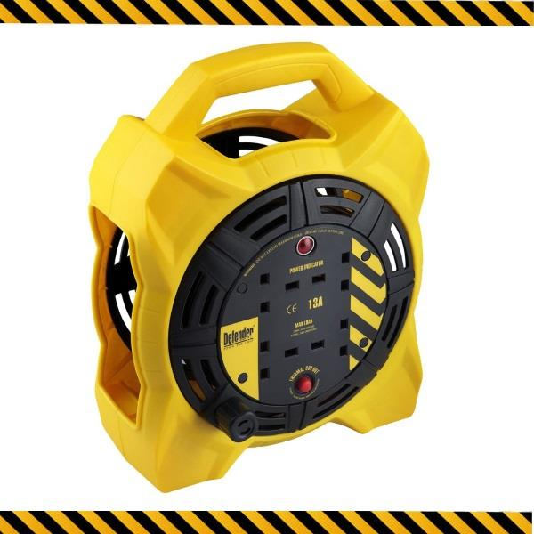 DEFENDER Industrial Round Extension Reel 15M Power Extension