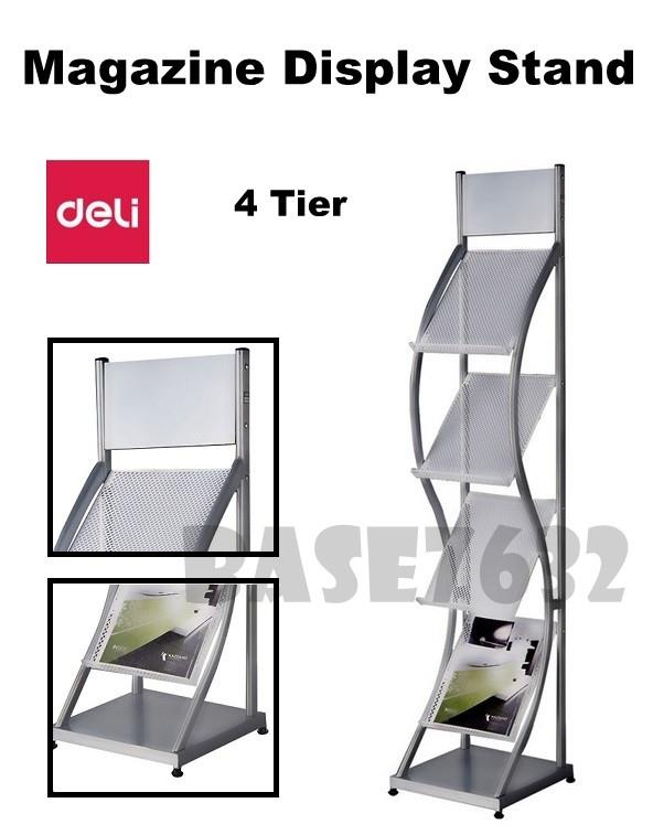 DELI 4  Tier Magazine Newspaper Display Rack Holder with Foot Stand