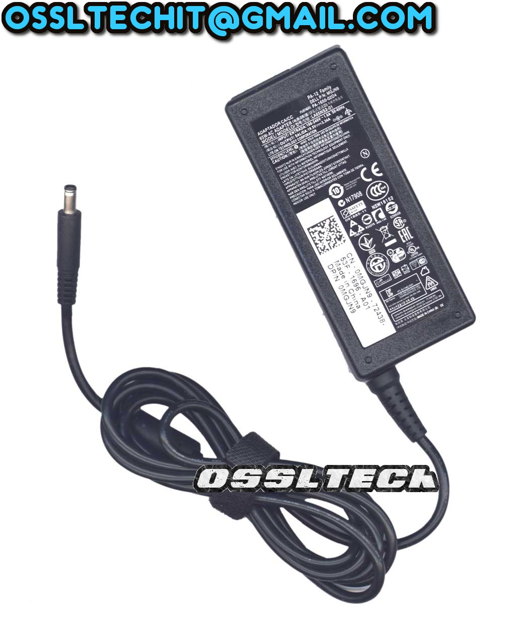 DELL 19.5V 3.34A 65W 0MGJN9 0G6J41 043NY4 0GG2WG Power Adapter Charger