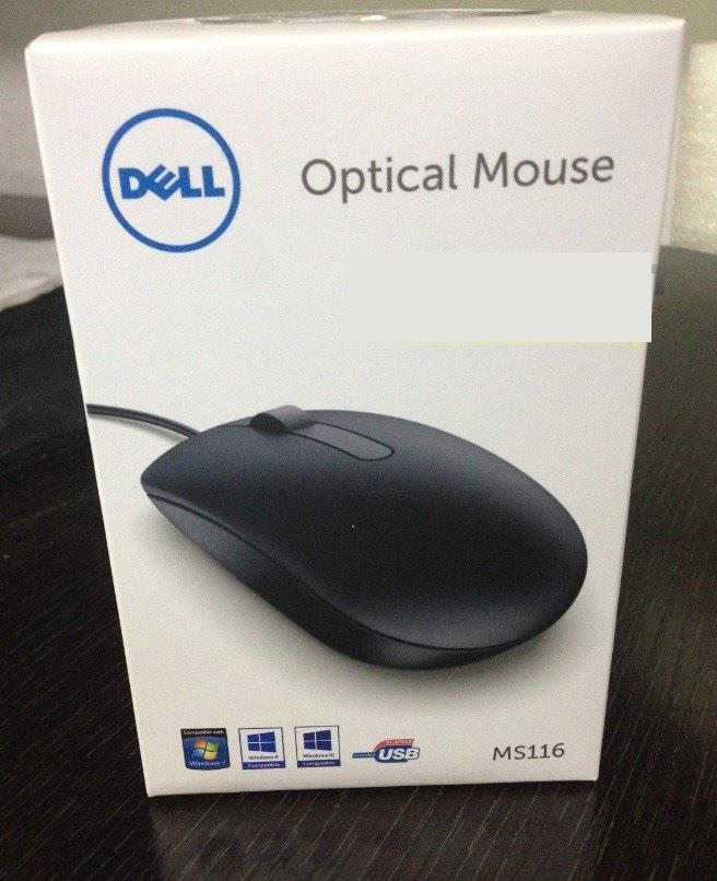 DELL 3 BUTTON MOUSE WIRED OPTICAL USB (MS116)
