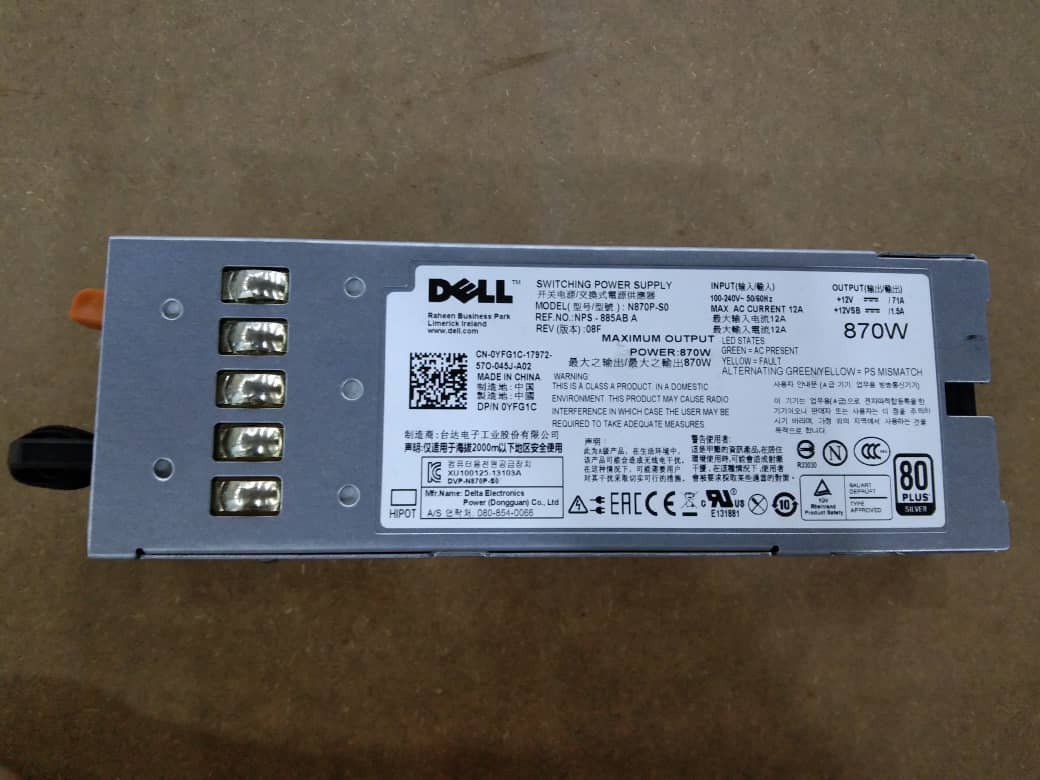 Dell 870W 0YFG1C Power Supply For PowerEdge R710 T610