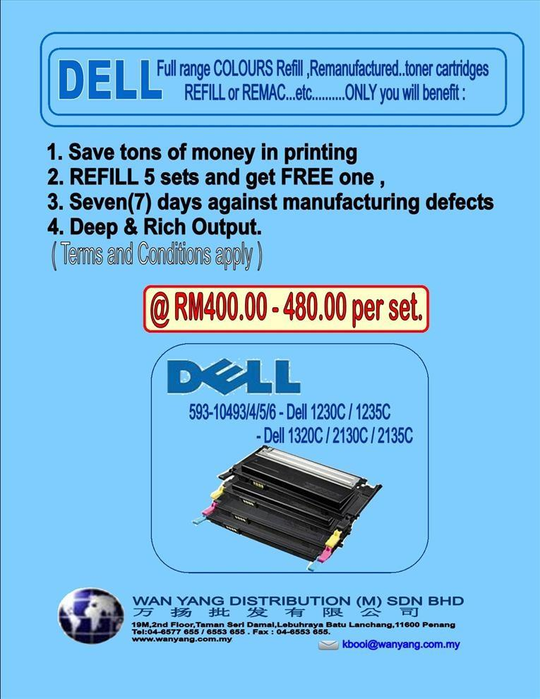 DELL Full range COLOUR  toner cartridges Refill