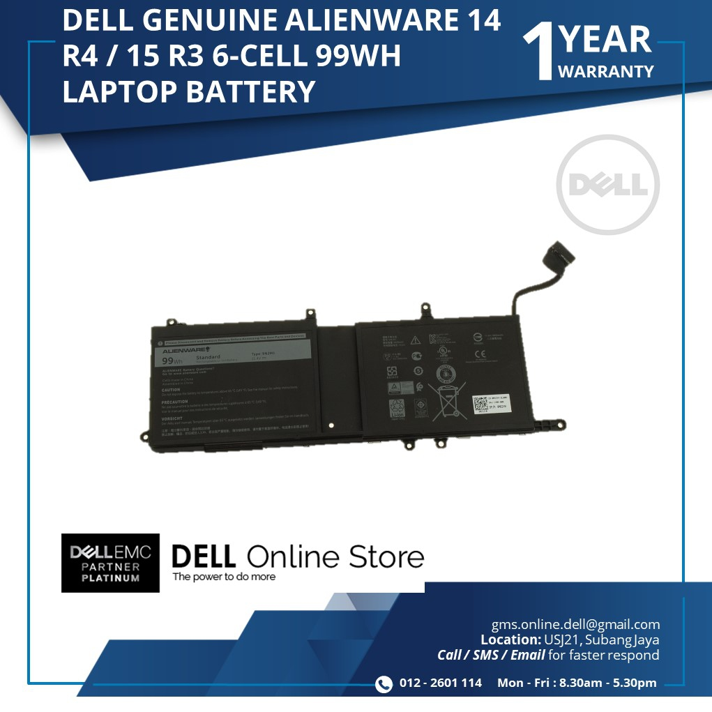 DELL GENUINE ALIENWARE 14 R4 / 15 R3 6 CELL 99WH LAPTOP BATTERY