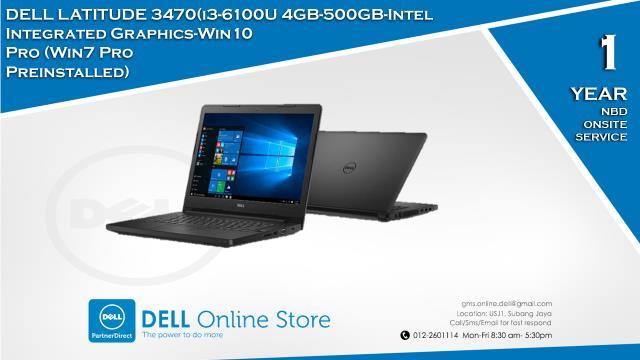 Dell Latitude 3470(i3-6100U-4GB-500GB-Intel Integrated Graphics-Win10