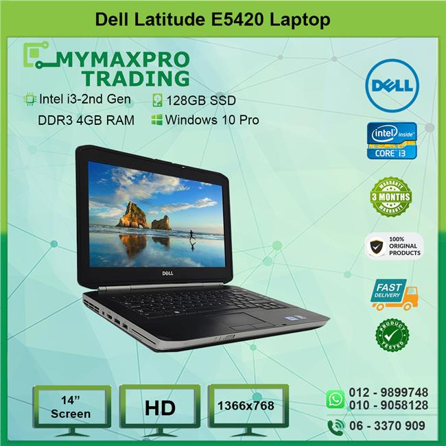 Dell Latitude E5420 Intel i3-2310m 4GB RAM 128GB SSD Win10Pro Laptop