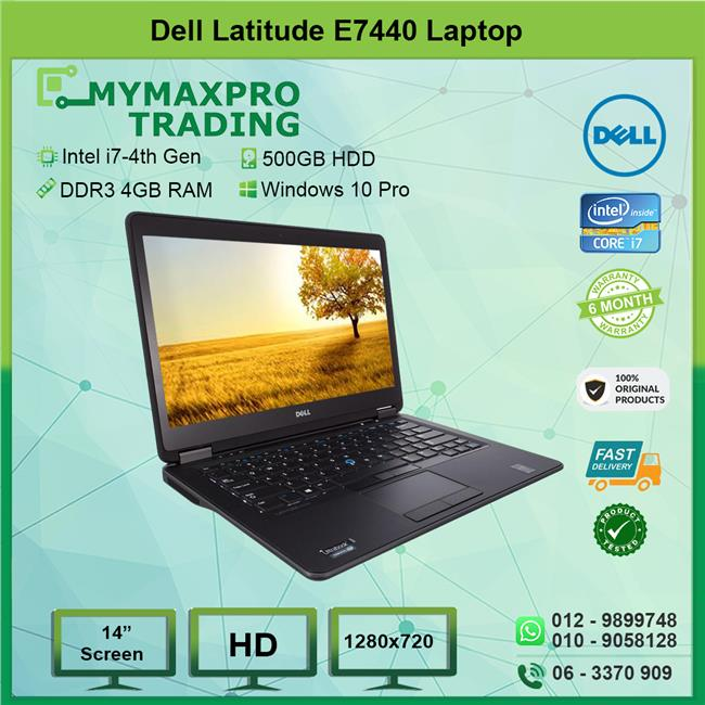Dell Latitude E7440 Intel i7-4600u 4GB 500GB HDD Win10Pro laptop