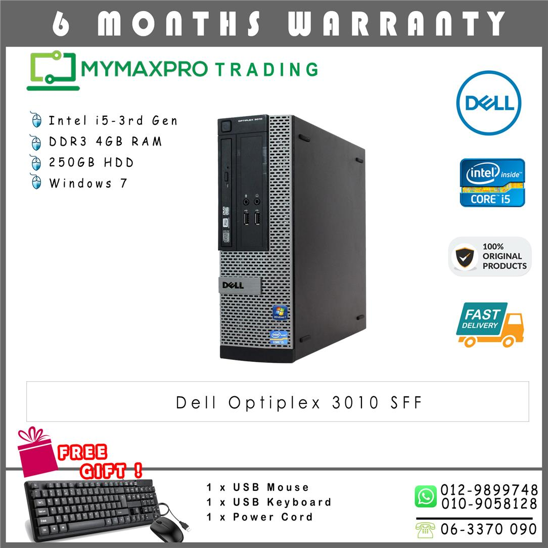 Dell Optiplex 3010 SFF Intel i5-3rd Gen 4GB 250GB HDD Win 7 Desktop