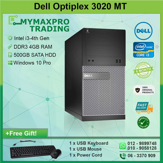 Dell Optiplex 3020 MT Intel i3-4th Gen 4GB 500GB HDD Win10Pro Desktop