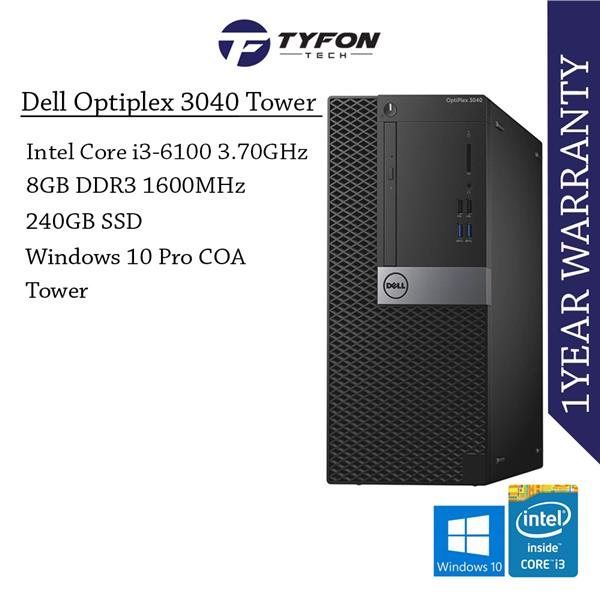 Dell Optiplex 3040 MT i3 8GB RAM 240GB SSD Desktop PC Computer (Refurb
