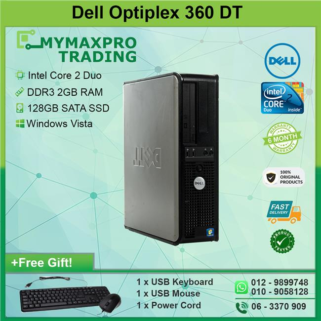 Dell Optiplex 360 Intel Core2Duo DT 2GB 128GB SSD Desktop Win Vista