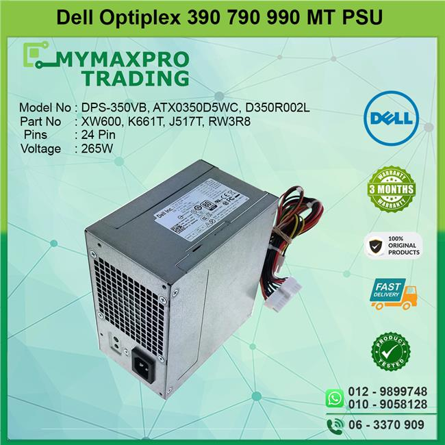 Dell Optiplex 390 790 990 MT 265W Power Supply PSU 053N4 CF5W6 R8JX0