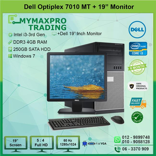 Dell Optiplex 7010 MT i3 3rd Gen 4GB 250GB HDD + 19' inch Monitor