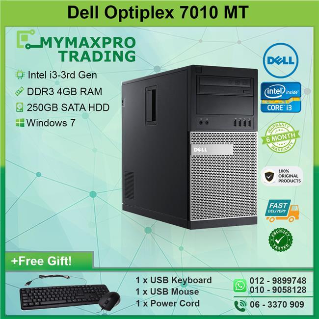 Dell Optiplex 7010 MT Intel i3-3rd Gen 4GB 250GB HDD Win 7 Desktop