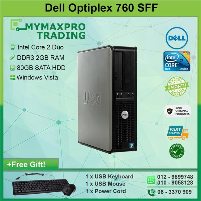 Dell OptiPlex 760 SFF Desktop Core 2 Duo E8400 2GB 80GB HDD Win Vista