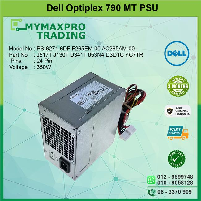 Dell Optiplex 790 MT 350W Power Supply PSU J517T J130T D341T