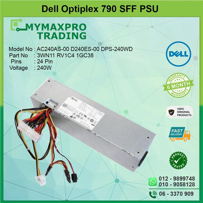 Dell Optiplex 790 SFF 240W Power Supply PSU RV1C4 1GC38 3WN11