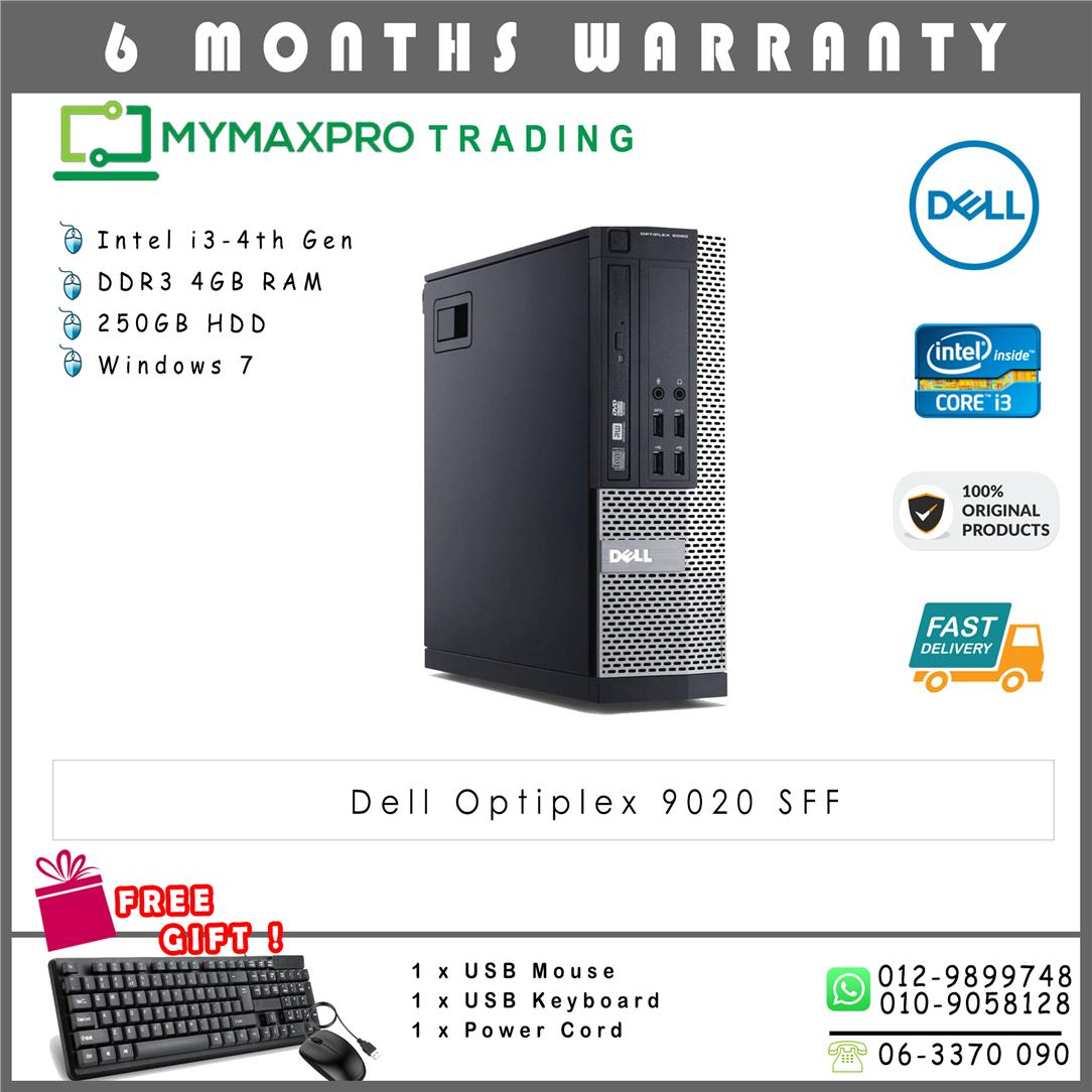Dell Optiplex 9020 SFF Intel i3-4th Gen 4GB 250GB HDD Win 7 Desktop