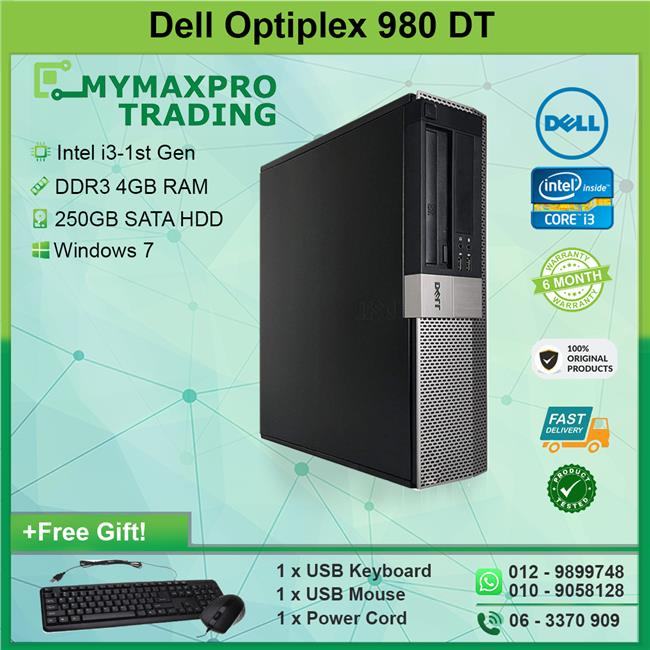 Dell Optiplex 980 DT Intel i3 1st-Gen 4GB 250GB HDD Win 7 Desktop