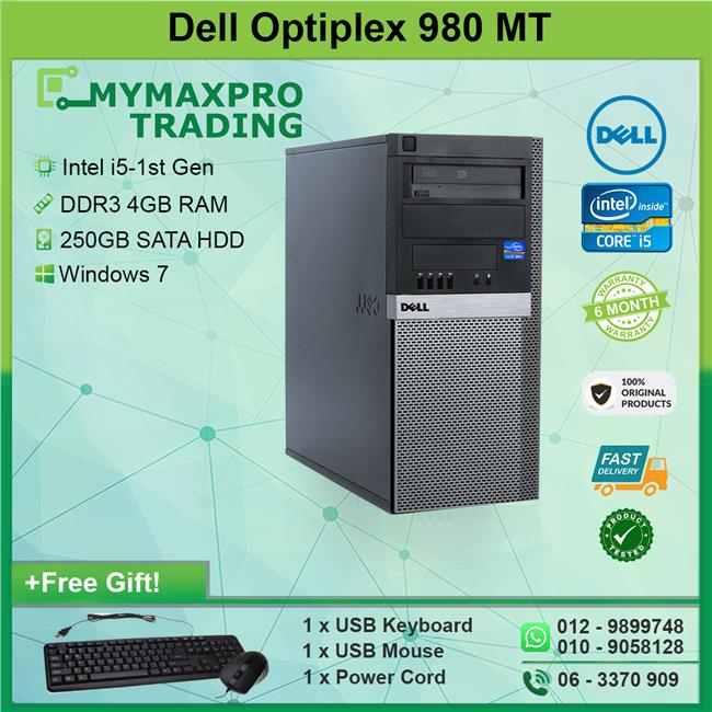 Dell Optiplex 980 MT Intel i5 1st-Gen 4GB 250GB HDD Win 7 Desktop