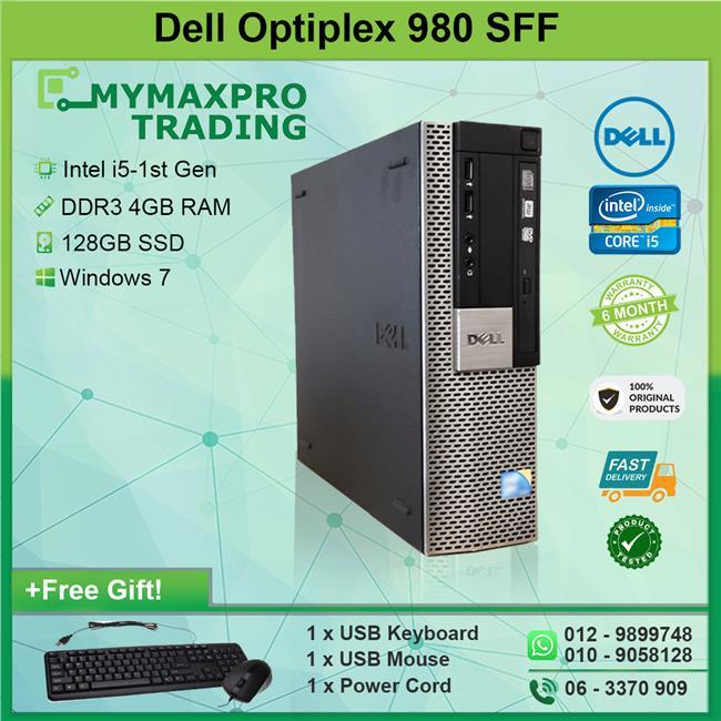 Dell Optiplex 980 SFF Intel i5-1st Gen 4GB 128GB SSD Win 7 Desktop