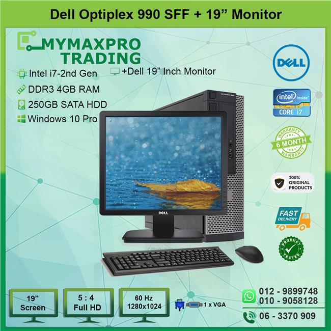 Dell Optiplex 990 SFF i7 2nd Gen 4GB 250GB HDD + 19' Monitor W10P