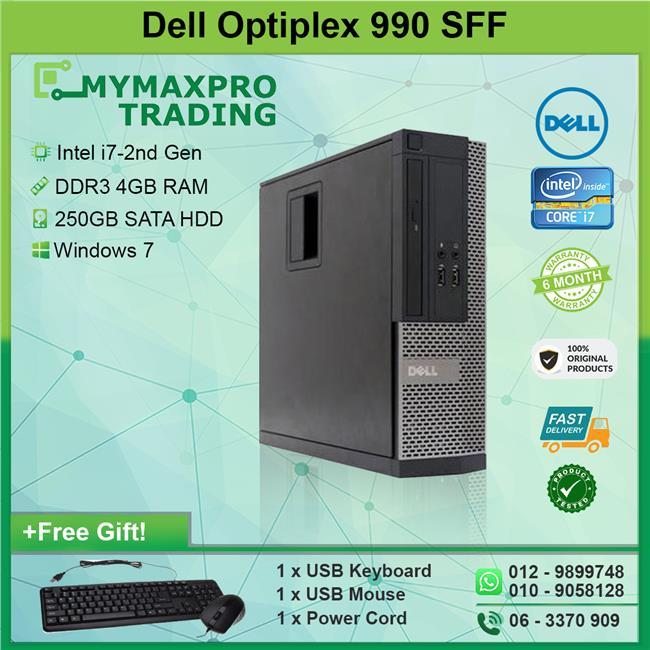 Dell Optiplex 990 SFF Intel i7-2nd Gen 4GB 250GB HDD Win 7 Desktop
