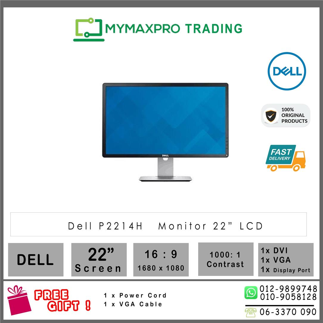 "Dell P2214H 22"" LED Monitor 22-inch VGA Display Port DVI 1920x1080"