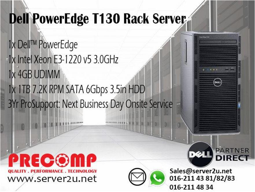 Dell PowerEdge T130 Tower Server (E3-1220v5 4GB 1TB) (210-AFFS-H330)