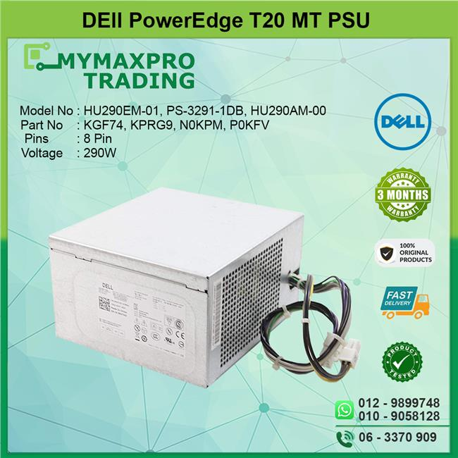 Dell PowerEdge T20 MT 290W Power Supply PSU N0KPM RVTHD
