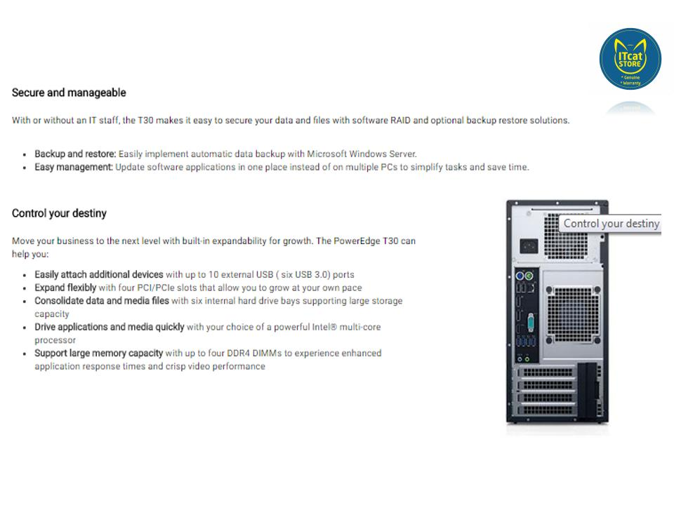 NEW DELL POWEREDGE T30 1 SOCKET SERVER/INTEL E3-1225v5/8GB/1TB-3YW
