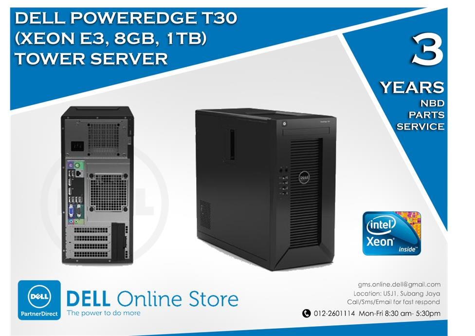 Dell PowerEdge T30 (Xeon E3, 8GB, 1TB) Tower Server