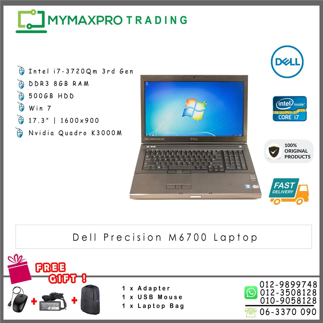 Dell Precision M6700 i7-3720QM 8GB 500GB HDD Nvidia Quadro K3000M