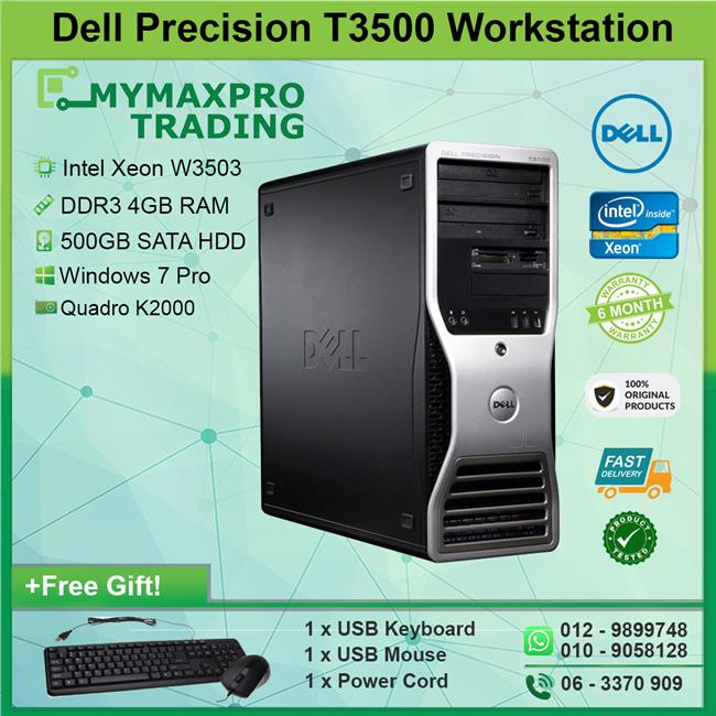 Dell Precision T3500 Workstation Xeon W3503 4GB 500GB Win7 K2000