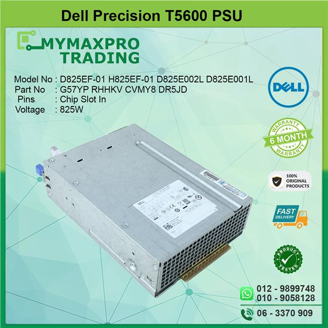 Dell Precision T5600 Workstation 825W Power Supply PSU G57YP RHHKV