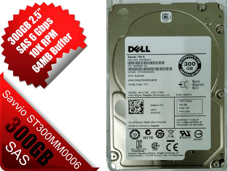 NEW DELL Seagate Savvio ST300MM0006 300GB 10K RPM 2.5' SAS HDD PGHJG