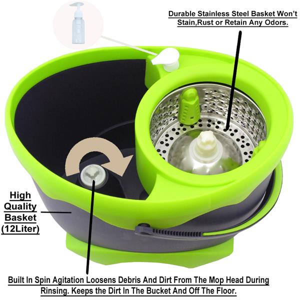 deluxe 360 degree dual spin mop bucket with 2 mop heads