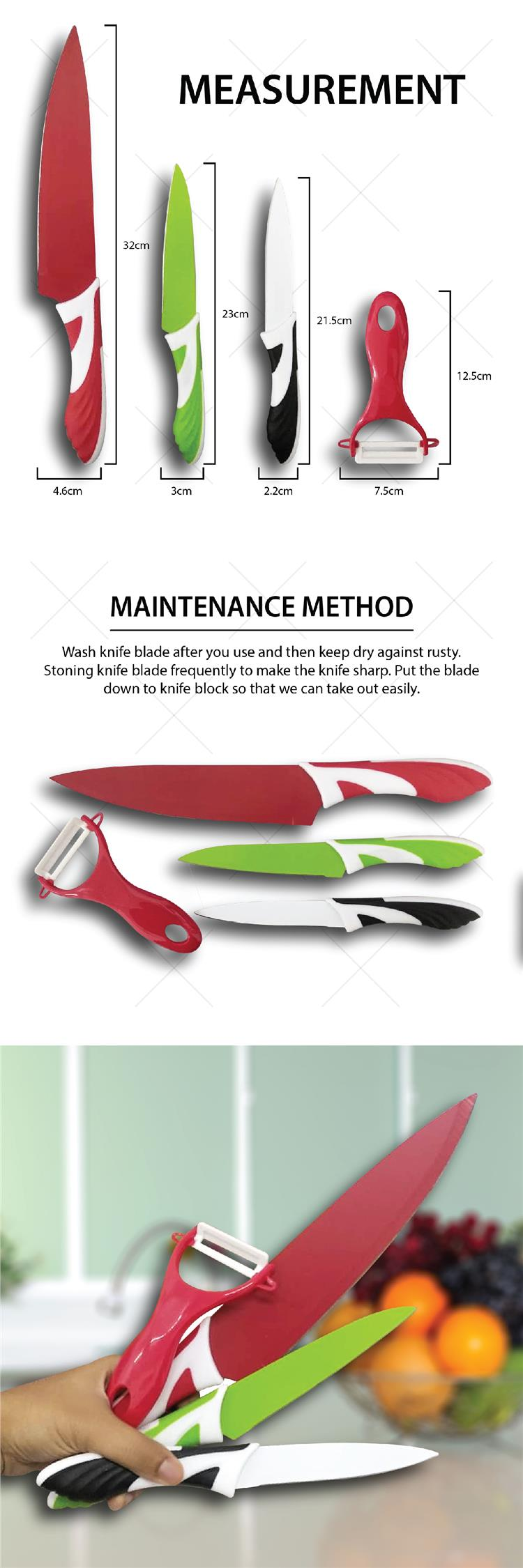 Deluxe 3pcs Stainless Steel Kitchen Knife Set Colorful Knives Kitchen
