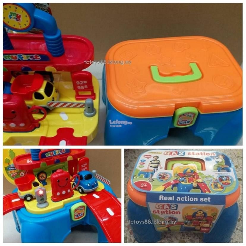 Deluxe Gas Station Play Set Pretend Toy 2 in 1 Parking Lot Stool Chair