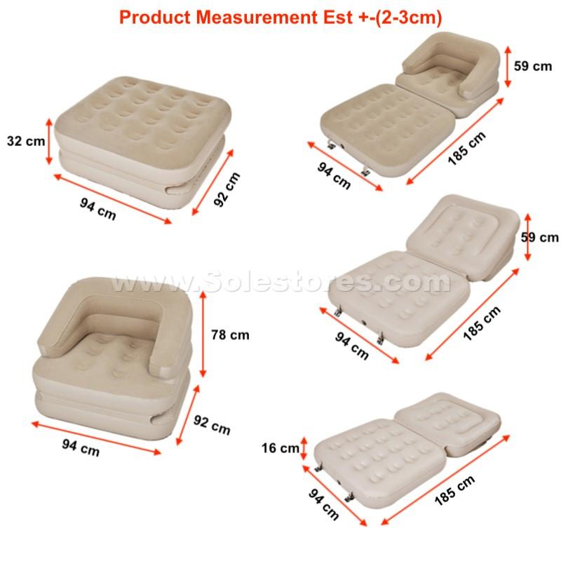 Deluxe Inflatable 5 in 1 Sofa Bed Lounge Chair Air Bed Air Sofa