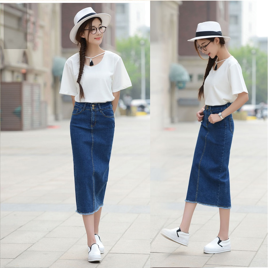 DENIM Korean Summer High Waist Slim Fit Denim Midi Maxi Skirt