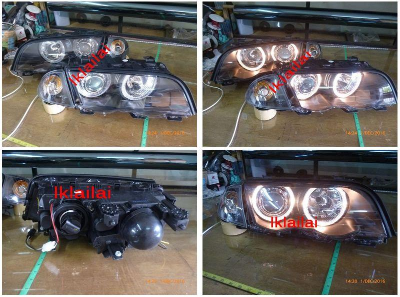 DEPO BMW 3 Series E46 '98 4D/2D Head Lamp Projector W/Rim+Motor Black