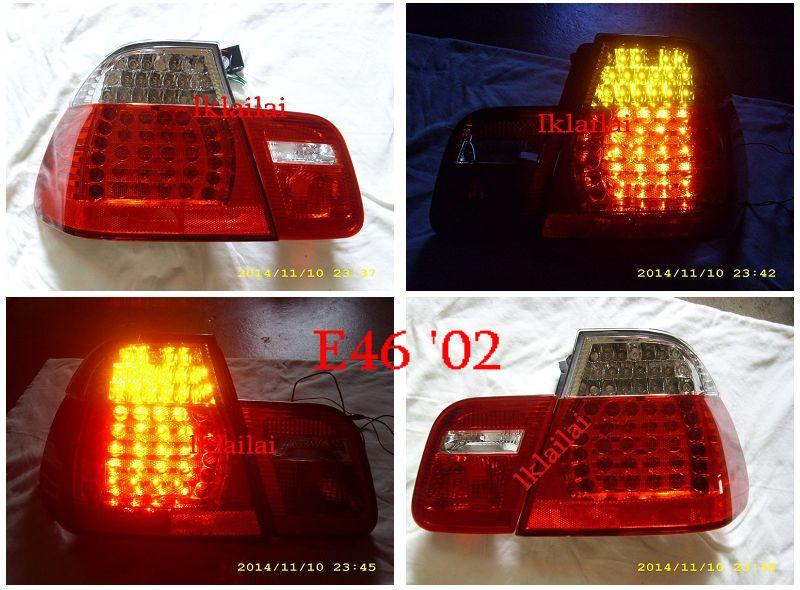 DEPO Bmw E46 4D 98-01 / 02-05 Tail Lamp Crystal LED [Clear-Red] 1-pair