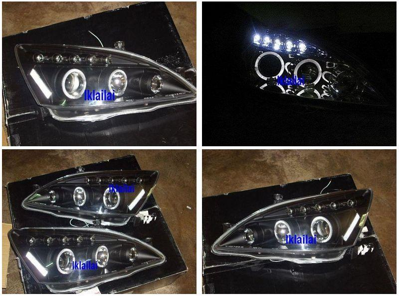DEPO Honda Accord '03 LED Ring Projector Head Lamp Black