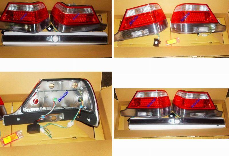 DEPO Mercedes 94-97 W140 Rear Lamp Crystal LED Clear/Red 3 Pcs Set