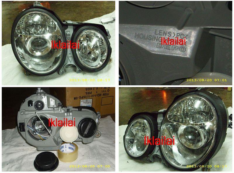 DEPO Mercedes W210 99-02 Projector Head Lamp Crystal W/Vacuum