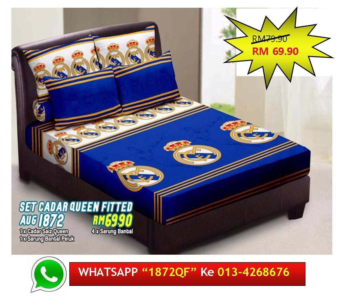 "*Design Baru* Set Cadar Queen Fitted ""REAL MADRID"" Bedsheet Murah"