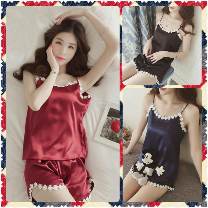 97982001d New Design Sexy Satin Lingerie Suit Singlet With Pant with 3 Colours S. ‹ ›