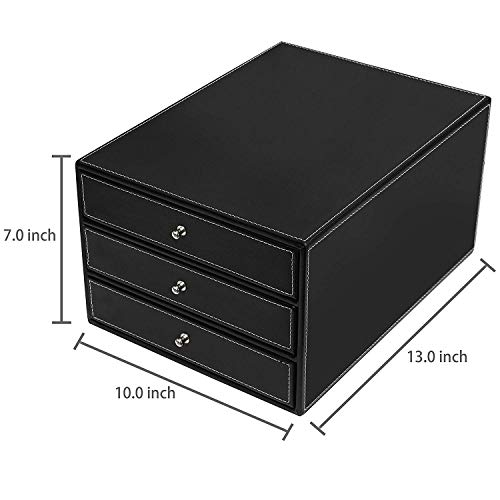 Desk Organizer with 3 Drawers Leather Office Supply Desktop Storage Box File C