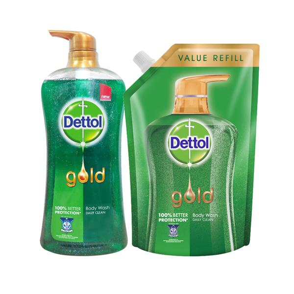Dettol Gold Shower Gel Daily Clean 950ml + 900ml. U2039 U203a